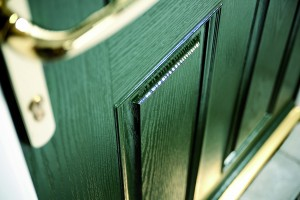 Closeup of green door